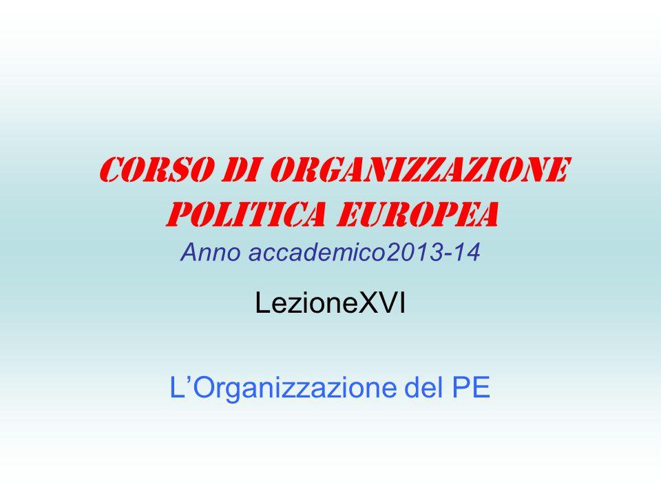Corso di Organizzazione Politica Europea Anno accademico2013-14 LezioneXVI L'Organizzazione del PE