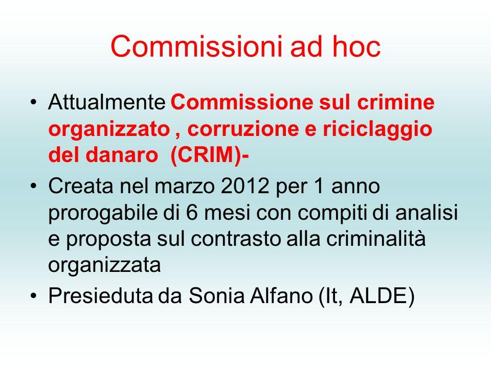Commissioni ad hoc Attualmente Commissione sul crimine organizzato, corruzione e riciclaggio del danaro (CRIM)- Creata nel marzo 2012 per 1 anno prorogabile di 6 mesi con compiti di analisi e proposta sul contrasto alla criminalità organizzata Presieduta da Sonia Alfano (It, ALDE)