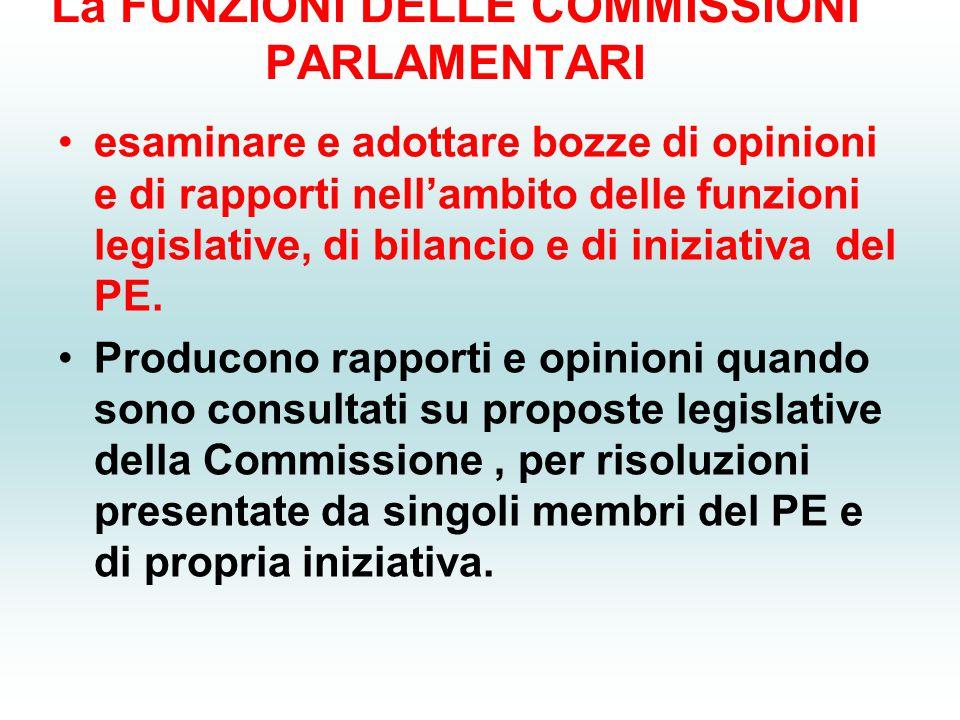 La FUNZIONI DELLE COMMISSIONI PARLAMENTARI esaminare e adottare bozze di opinioni e di rapporti nell'ambito delle funzioni legislative, di bilancio e
