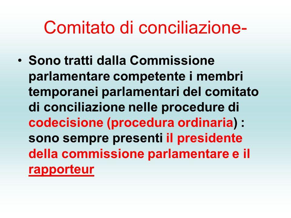 Comitato di conciliazione- Sono tratti dalla Commissione parlamentare competente i membri temporanei parlamentari del comitato di conciliazione nelle