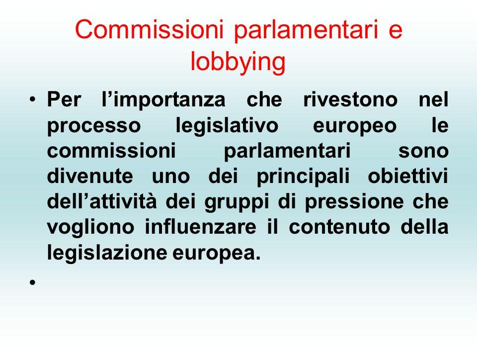 Commissioni parlamentari e lobbying Per l'importanza che rivestono nel processo legislativo europeo le commissioni parlamentari sono divenute uno dei principali obiettivi dell'attività dei gruppi di pressione che vogliono influenzare il contenuto della legislazione europea.