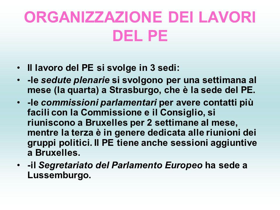 ORGANIZZAZIONE DEI LAVORI DEL PE Il lavoro del PE si svolge in 3 sedi: -le sedute plenarie si svolgono per una settimana al mese (la quarta) a Strasbu