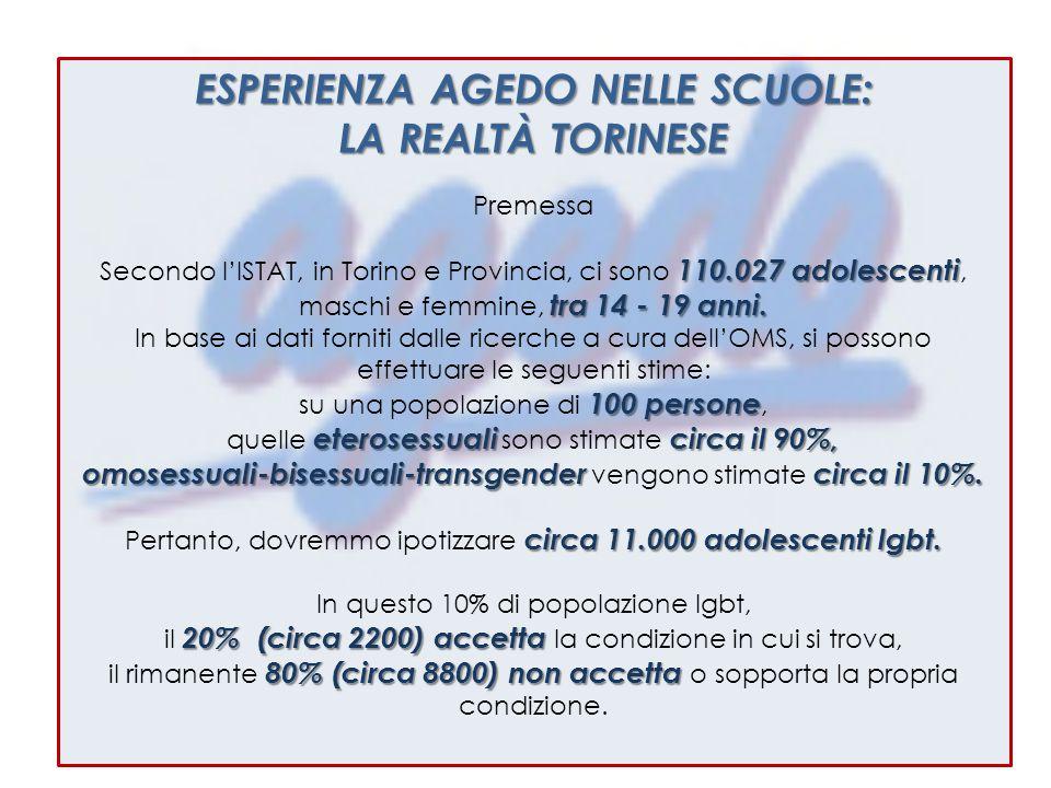 ESPERIENZA AGEDO NELLE SCUOLE: LA REALTÀ TORINESE Premessa 110.027 adolescenti Secondo l'ISTAT, in Torino e Provincia, ci sono 110.027 adolescenti, tra 14 - 19 anni.