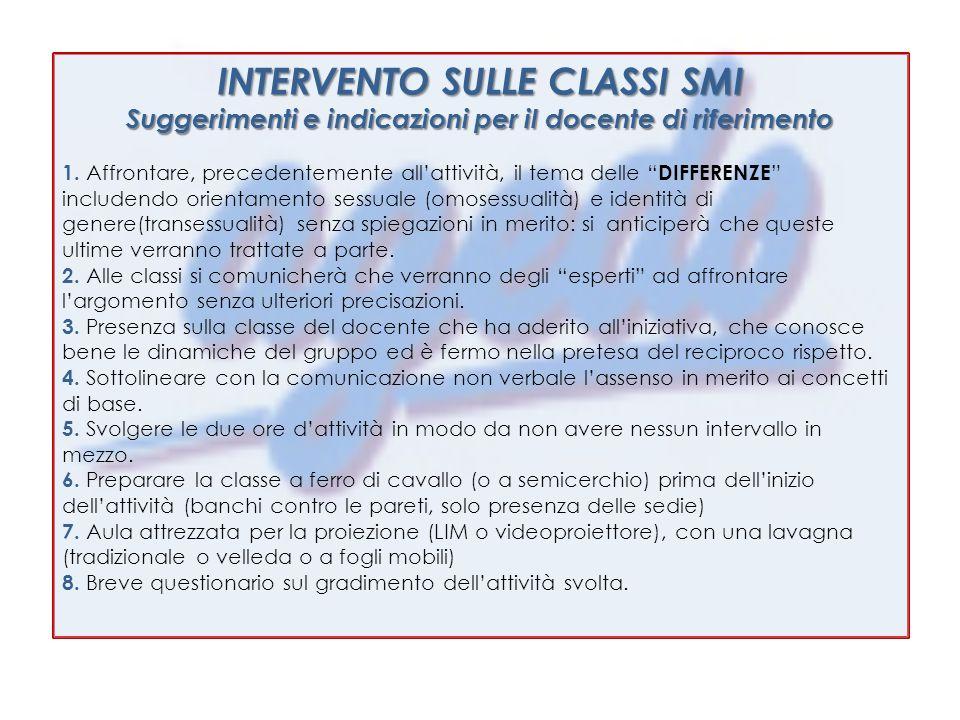 INTERVENTO SULLE CLASSI SMI Suggerimenti e indicazioni per il docente di riferimento 1.