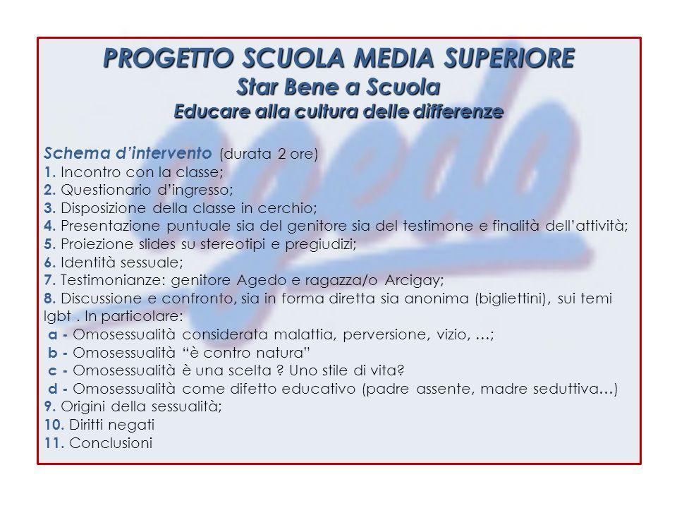 PROGETTO SCUOLA MEDIA SUPERIORE Star Bene a Scuola Educare alla cultura delle differenze Schema d'intervento (durata 2 ore) 1.