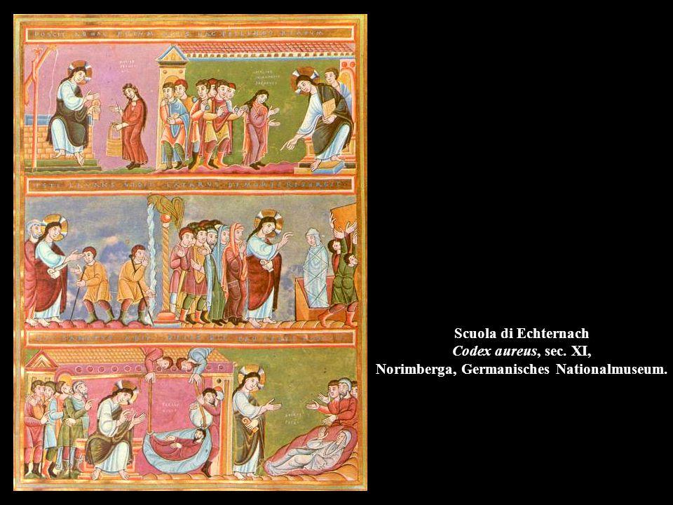 Scuola di Echternach Codex aureus, sec. XI, Norimberga, Germanisches Nationalmuseum.
