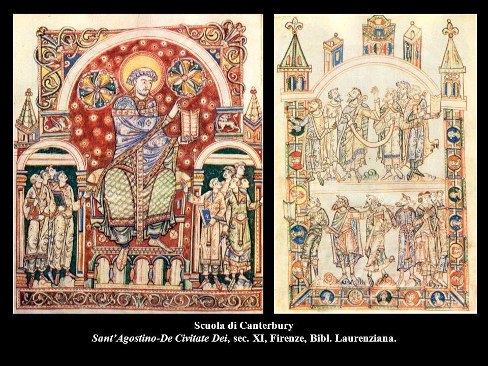 Scuola di Canterbury Sant'Agostino-De Civitate Dei, sec. XI, Firenze, Bibl. Laurenziana.