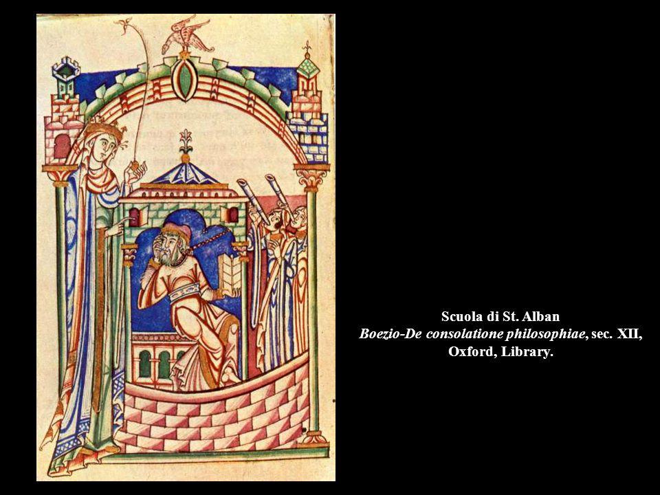 Scuola di St. Alban Boezio-De consolatione philosophiae, sec. XII, Oxford, Library.