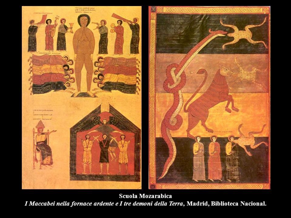 Scuola Mozarabica I Maccabei nella fornace ardente e I tre demoni della Terra, Madrid, Biblioteca Nacional.