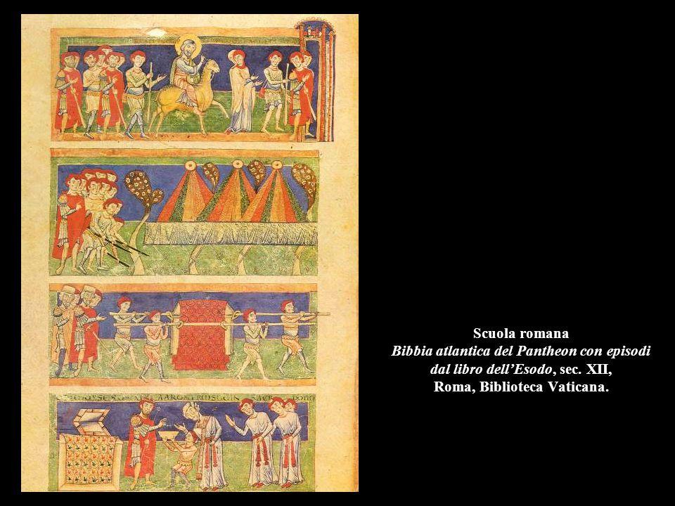 Scuola romana Bibbia atlantica del Pantheon con episodi dal libro dell'Esodo, sec. XII, Roma, Biblioteca Vaticana.