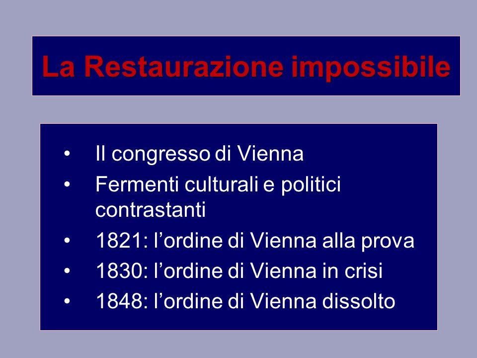 La Restaurazione impossibile Il congresso di Vienna Fermenti culturali e politici contrastanti 1821: l'ordine di Vienna alla prova 1830: l'ordine di Vienna in crisi 1848: l'ordine di Vienna dissolto