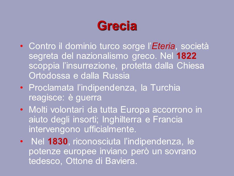 Grecia Contro il dominio turco sorge l'Eteria, società segreta del nazionalismo greco. Nel 1822 scoppia l'insurrezione, protetta dalla Chiesa Ortodoss