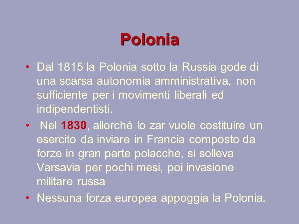Polonia Dal 1815 la Polonia sotto la Russia gode di una scarsa autonomia amministrativa, non sufficiente per i movimenti liberali ed indipendentisti.