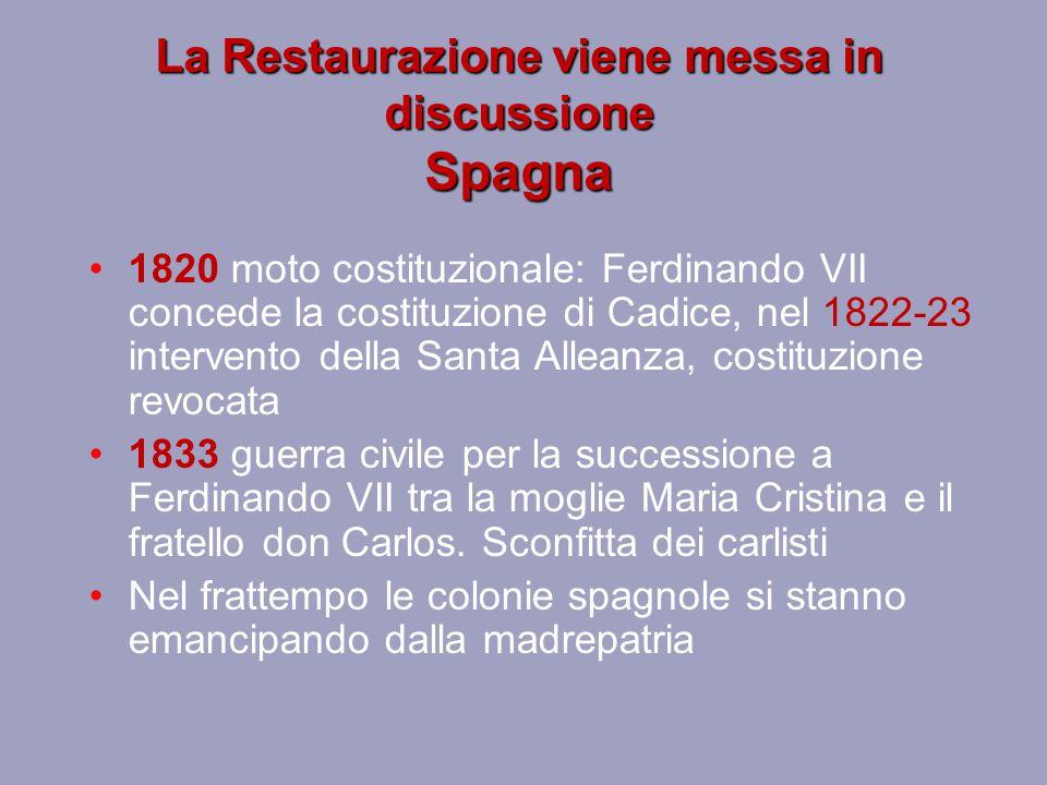 Italia – Due Sicilie, Milano 1820 moto costituzionale nel napoletano, poi si estende in Sicilia.