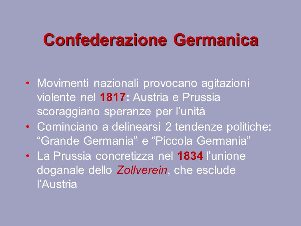 Confederazione Germanica Movimenti nazionali provocano agitazioni violente nel 1817: Austria e Prussia scoraggiano speranze per l'unità Cominciano a d