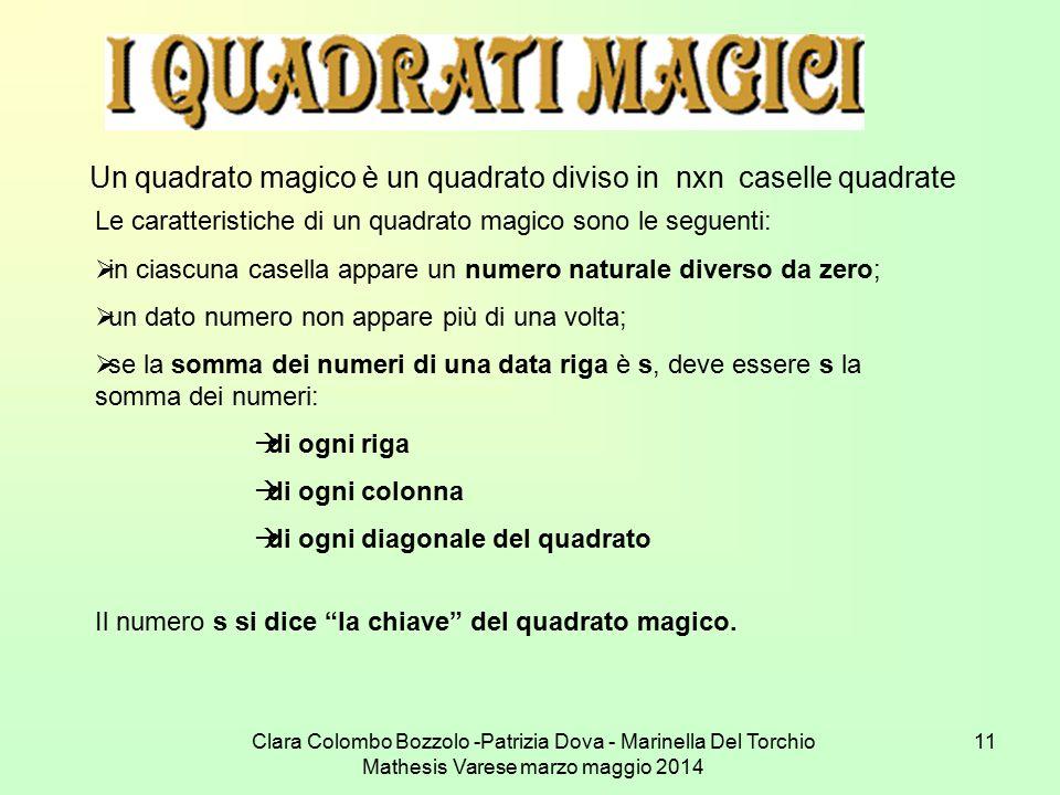 Clara Colombo Bozzolo -Patrizia Dova - Marinella Del Torchio Mathesis Varese marzo maggio 2014 11 Un quadrato magico è un quadrato diviso in nxn casel
