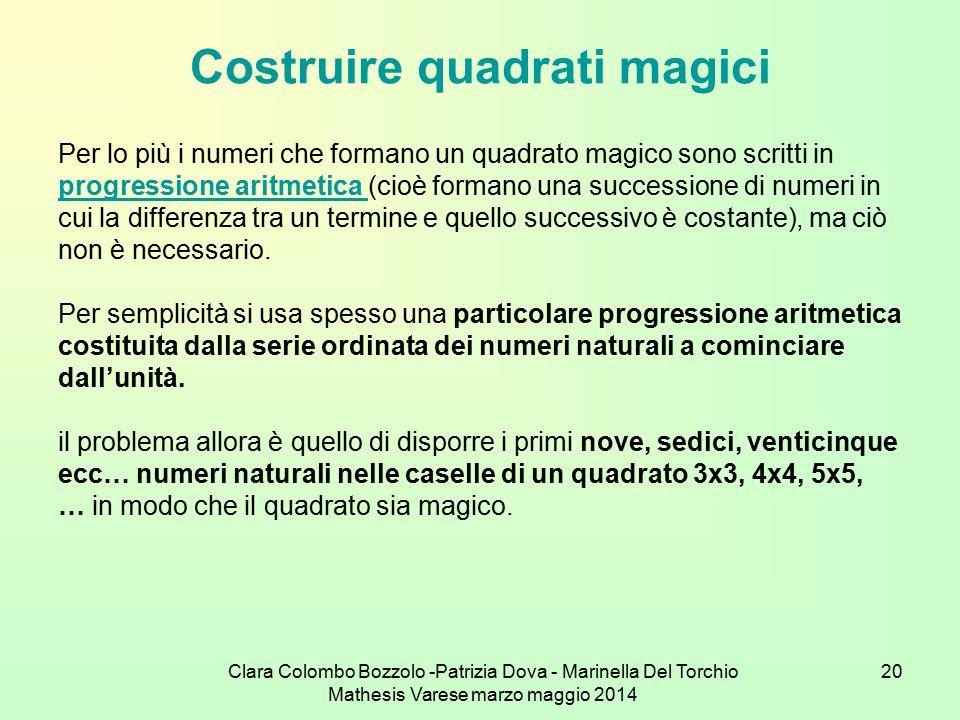 Clara Colombo Bozzolo -Patrizia Dova - Marinella Del Torchio Mathesis Varese marzo maggio 2014 20 Costruire quadrati magici Per lo più i numeri che fo
