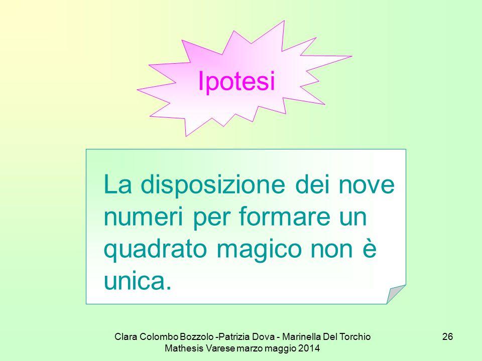 Clara Colombo Bozzolo -Patrizia Dova - Marinella Del Torchio Mathesis Varese marzo maggio 2014 26 Ipotesi La disposizione dei nove numeri per formare