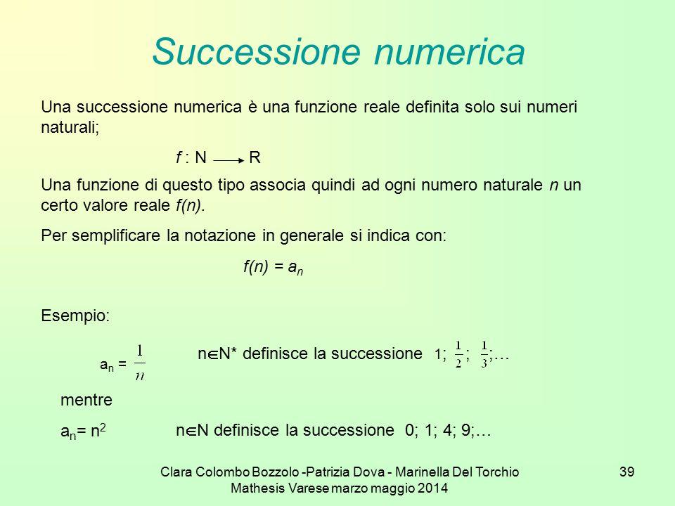 Clara Colombo Bozzolo -Patrizia Dova - Marinella Del Torchio Mathesis Varese marzo maggio 2014 39 Successione numerica Una successione numerica è una