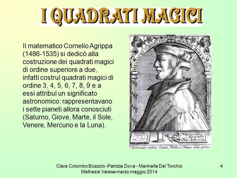 Clara Colombo Bozzolo -Patrizia Dova - Marinella Del Torchio Mathesis Varese marzo maggio 2014 4 Il matematico Cornelio Agrippa (1486-1535) si dedicò