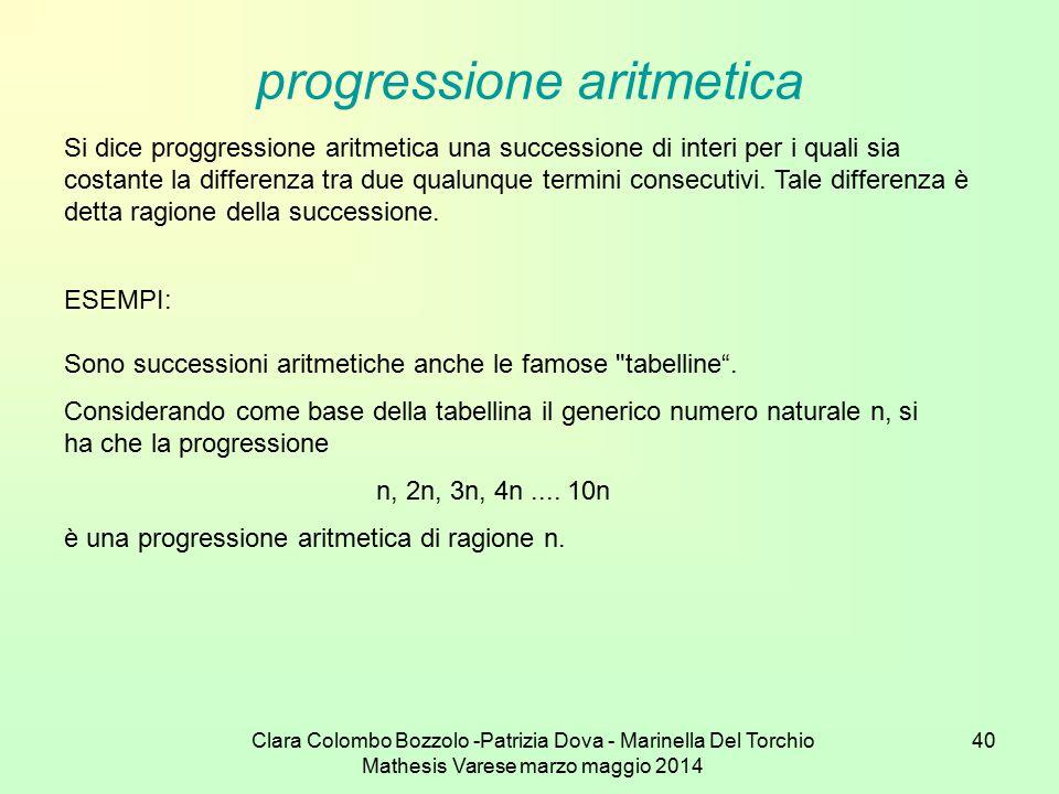 Clara Colombo Bozzolo -Patrizia Dova - Marinella Del Torchio Mathesis Varese marzo maggio 2014 40 progressione aritmetica Si dice proggressione aritme