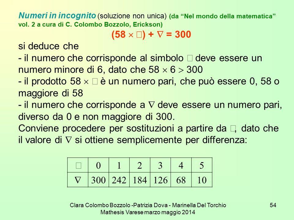 """Clara Colombo Bozzolo -Patrizia Dova - Marinella Del Torchio Mathesis Varese marzo maggio 2014 54 Numeri in incognito (soluzione non unica) (da """"Nel m"""