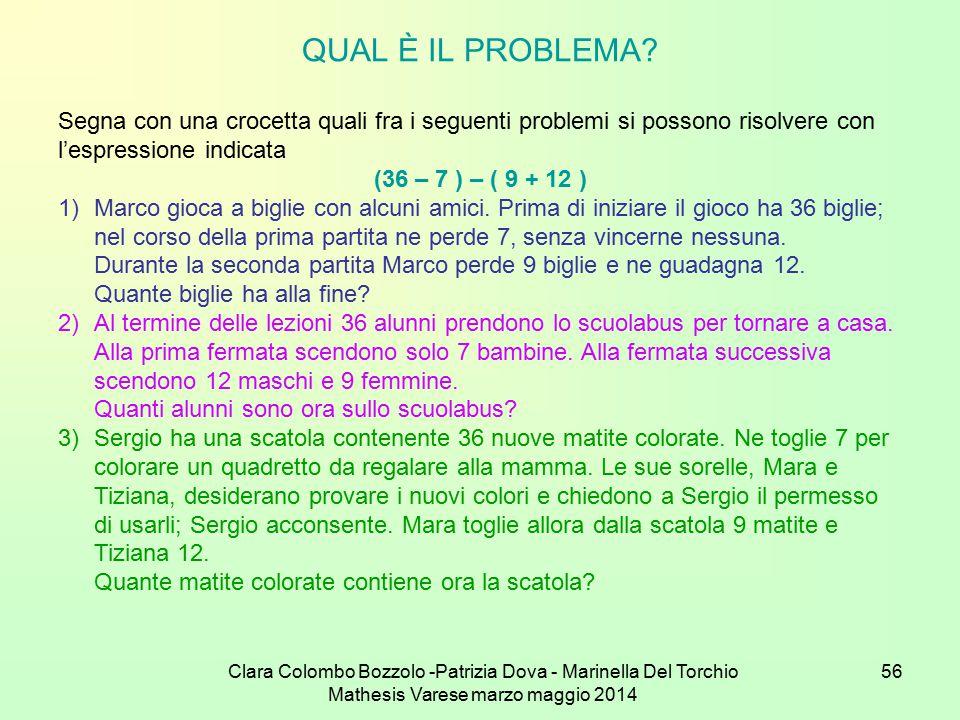 Clara Colombo Bozzolo -Patrizia Dova - Marinella Del Torchio Mathesis Varese marzo maggio 2014 56 QUAL È IL PROBLEMA? Segna con una crocetta quali fra