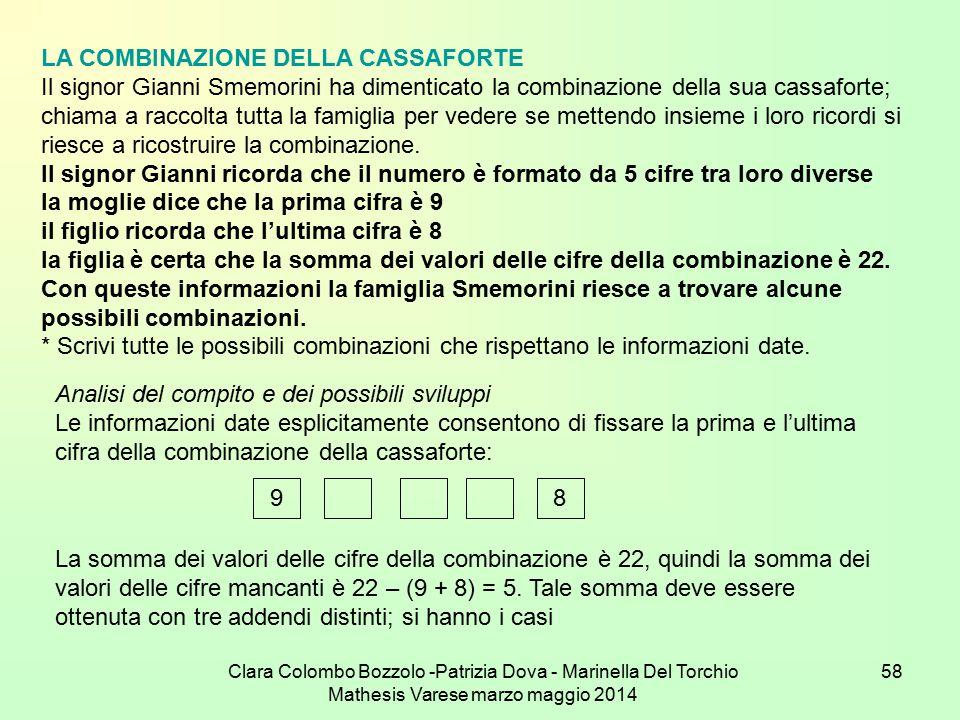 Clara Colombo Bozzolo -Patrizia Dova - Marinella Del Torchio Mathesis Varese marzo maggio 2014 58 LA COMBINAZIONE DELLA CASSAFORTE Il signor Gianni Sm