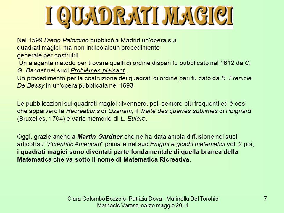 Clara Colombo Bozzolo -Patrizia Dova - Marinella Del Torchio Mathesis Varese marzo maggio 2014 7 Nel 1599 Diego Palomino pubblicò a Madrid un'opera su