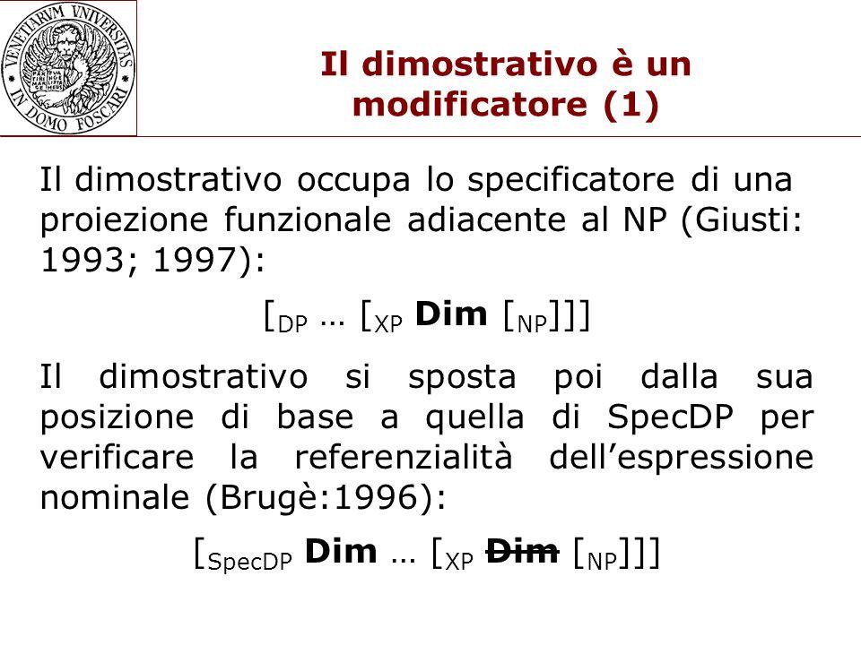 Il dimostrativo è un modificatore (1) Il dimostrativo occupa lo specificatore di una proiezione funzionale adiacente al NP (Giusti: 1993; 1997): [ DP … [ XP Dim [ NP ]]] Il dimostrativo si sposta poi dalla sua posizione di base a quella di SpecDP per verificare la referenzialità dell'espressione nominale (Brugè:1996): [ SpecDP Dim … [ XP Dim [ NP ]]]