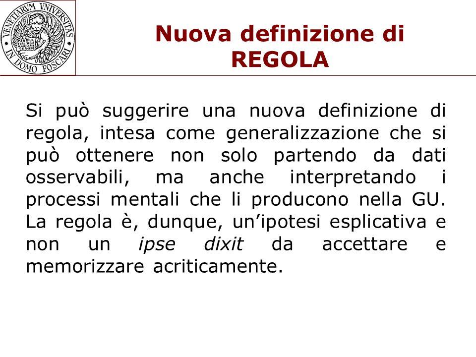 Nuova definizione di REGOLA Si può suggerire una nuova definizione di regola, intesa come generalizzazione che si può ottenere non solo partendo da dati osservabili, ma anche interpretando i processi mentali che li producono nella GU.