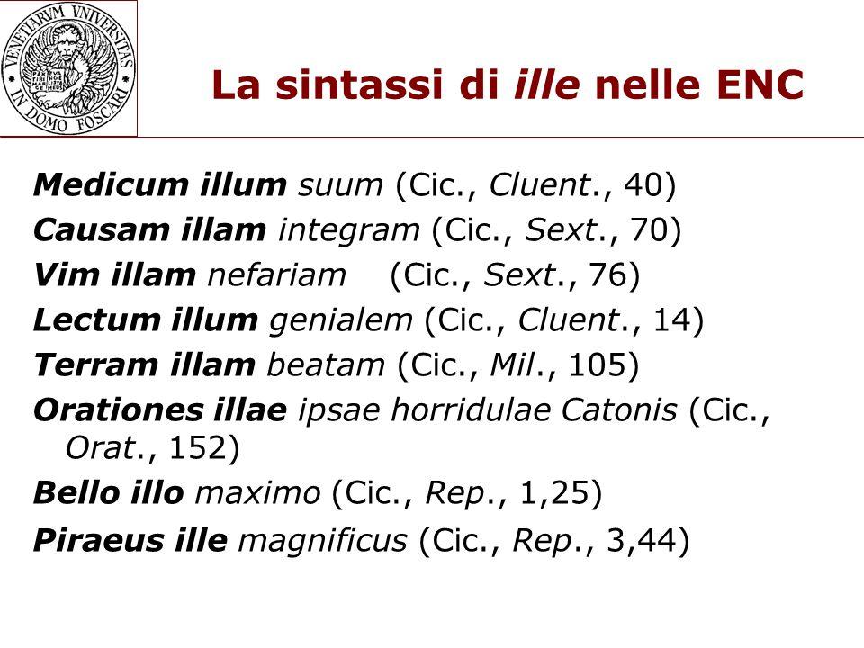 La sintassi di ille nelle ENC Medicum illum suum (Cic., Cluent., 40) Causam illam integram (Cic., Sext., 70) Vim illam nefariam (Cic., Sext., 76) Lectum illum genialem (Cic., Cluent., 14) Terram illam beatam (Cic., Mil., 105) Orationes illae ipsae horridulae Catonis (Cic., Orat., 152) Bello illo maximo (Cic., Rep., 1,25) Piraeus ille magnificus (Cic., Rep., 3,44)