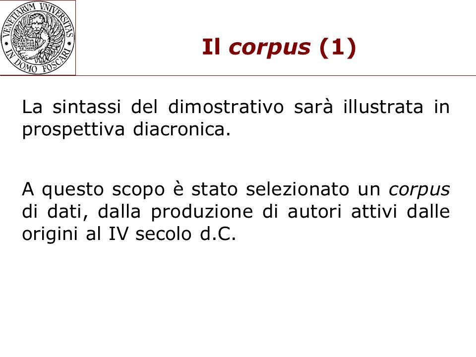Il corpus (1) La sintassi del dimostrativo sarà illustrata in prospettiva diacronica.