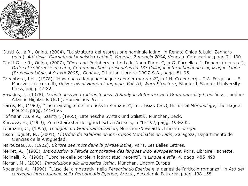 Giusti G., e R., Oniga, (2004), La struttura del espressione nominale latino in Renato Oniga & Luigi Zennaro (eds.), Atti della Giornata di Linguistica Latina , Venezia, 7 maggio 2004, Venezia, Cafoscarina, pagg.71-100.
