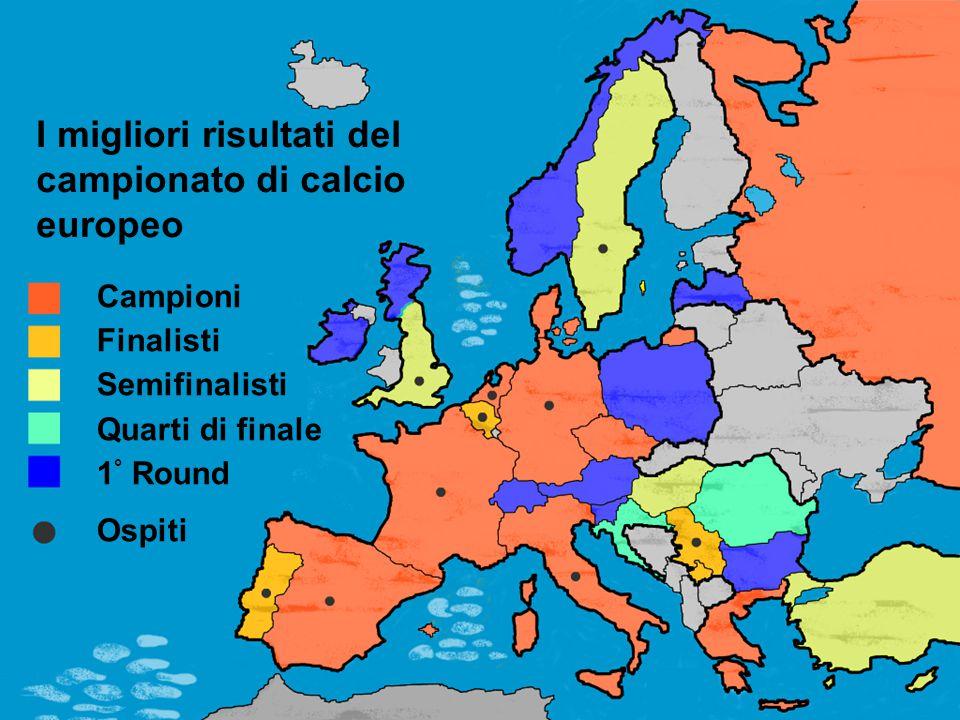 Campioni Finalisti Semifinalisti Quarti di finale 1 ° Round Ospiti I migliori risultati del campionato di calcio europeo
