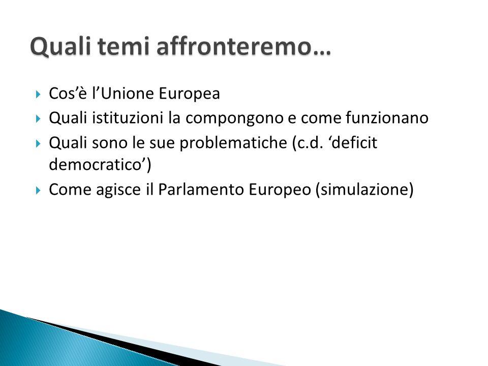  Cos'è l'Unione Europea  Quali istituzioni la compongono e come funzionano  Quali sono le sue problematiche (c.d. 'deficit democratico')  Come agi