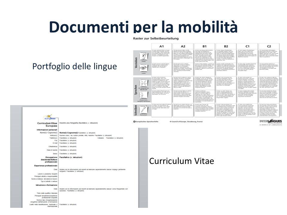 Documenti per la mobilità Portfoglio delle lingue Curriculum Vitae