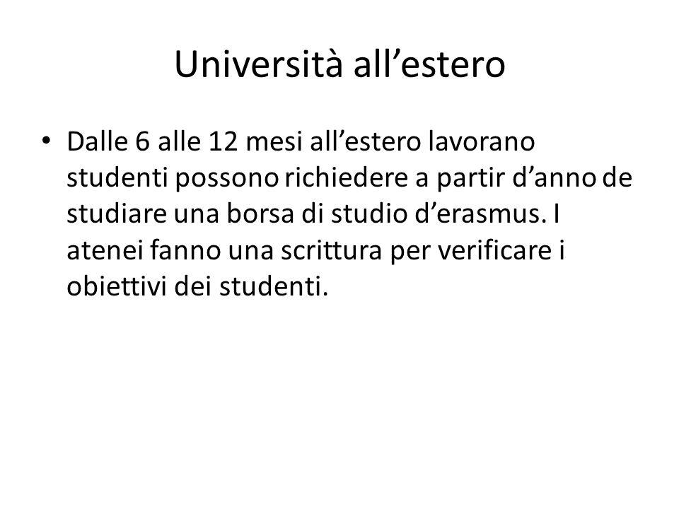 Università all'estero Dalle 6 alle 12 mesi all'estero lavorano studenti possono richiedere a partir d'anno de studiare una borsa di studio d'erasmus.