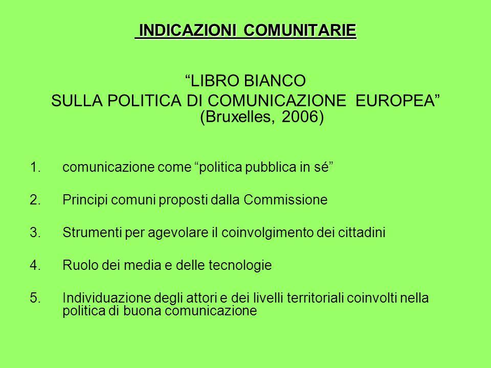 INDICAZIONI COMUNITARIE INDICAZIONI COMUNITARIE LIBRO BIANCO SULLA POLITICA DI COMUNICAZIONE EUROPEA (Bruxelles, 2006) 1.comunicazione come politica pubblica in sé 2.Principi comuni proposti dalla Commissione 3.Strumenti per agevolare il coinvolgimento dei cittadini 4.Ruolo dei media e delle tecnologie 5.Individuazione degli attori e dei livelli territoriali coinvolti nella politica di buona comunicazione