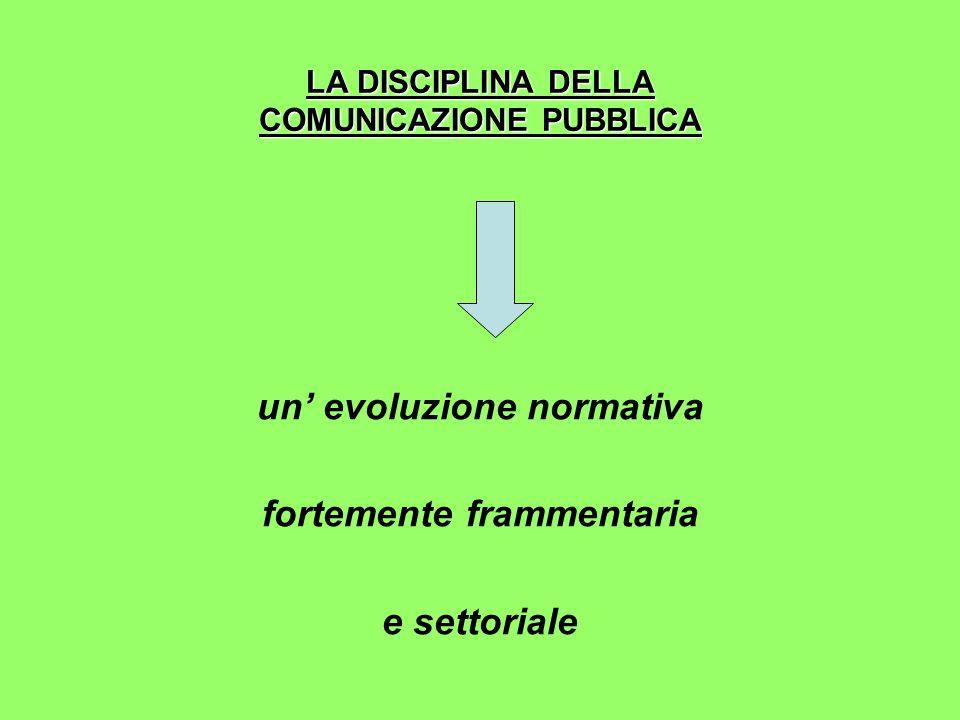 LA DISCIPLINA DELLA COMUNICAZIONE PUBBLICA un' evoluzione normativa fortemente frammentaria e settoriale