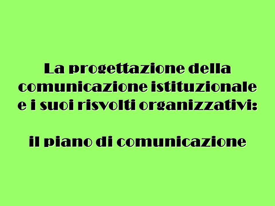 La progettazione della comunicazione istituzionale e i suoi risvolti organizzativi: il piano di comunicazione