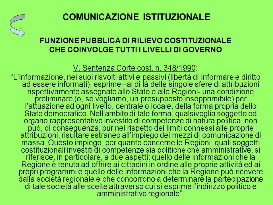 COMUNICAZIONE ISTITUZIONALE FUNZIONE PUBBLICA DI RILIEVO COSTITUZIONALE CHE COINVOLGE TUTTI I LIVELLI DI GOVERNO V.