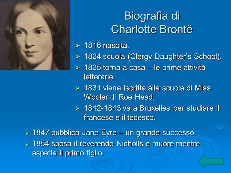 Biografia di Charlotte Brontë  1816 nascita.  1824 scuola (Clergy Daughter's School).  1825 torna a casa – le prime attività letterarie.  1831 vie