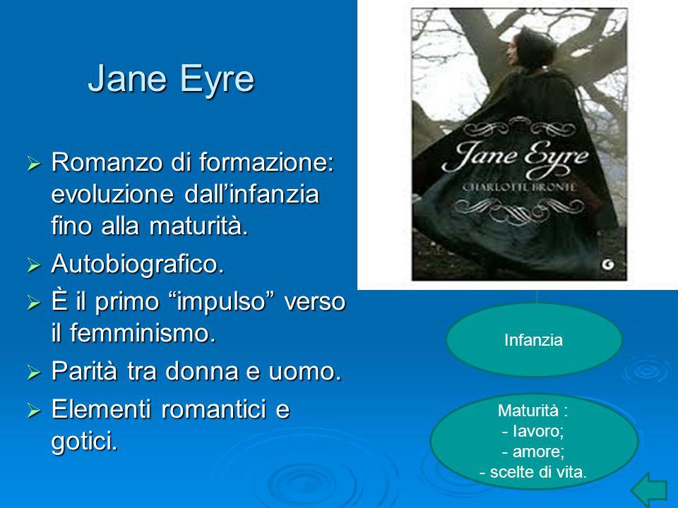 """Jane Eyre  Romanzo di formazione: evoluzione dall'infanzia fino alla maturità.  Autobiografico.  È il primo """"impulso"""" verso il femminismo.  Parità"""