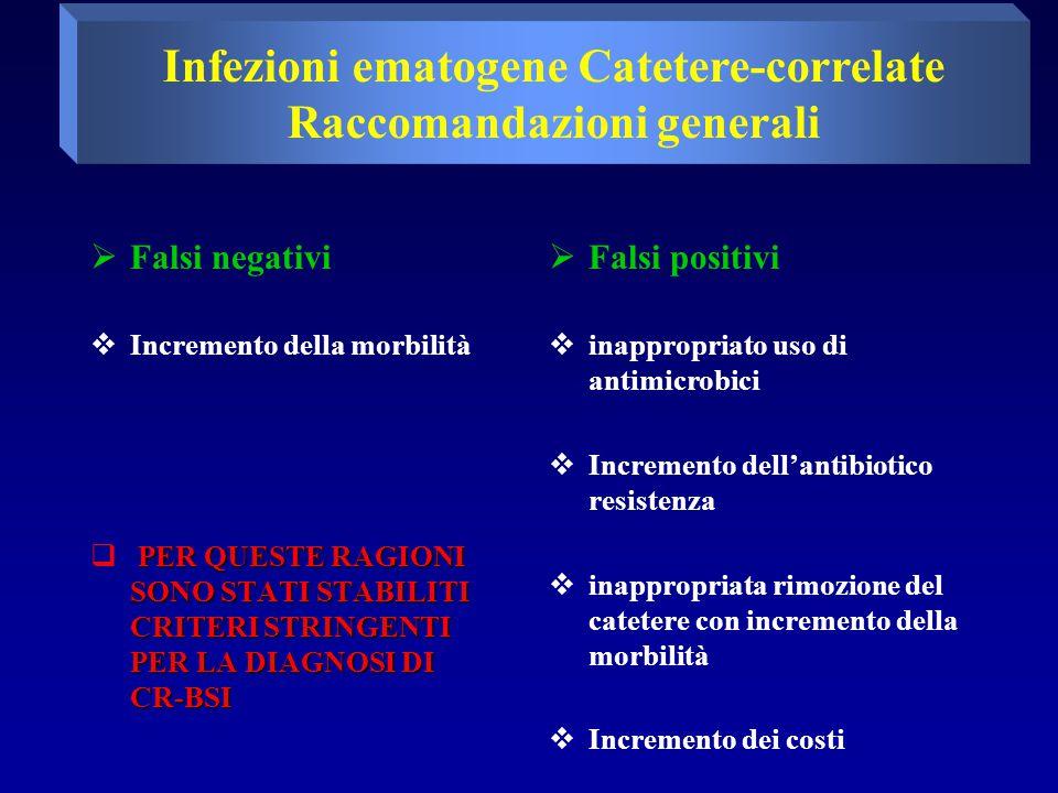  Falsi negativi  Incremento della morbilità PER QUESTE RAGIONI SONO STATI STABILITI CRITERI STRINGENTI PER LA DIAGNOSI DI CR-BSI  PER QUESTE RAGIONI SONO STATI STABILITI CRITERI STRINGENTI PER LA DIAGNOSI DI CR-BSI  Falsi positivi  inappropriato uso di antimicrobici  Incremento dell'antibiotico resistenza  inappropriata rimozione del catetere con incremento della morbilità  Incremento dei costi Infezioni ematogene Catetere-correlate Raccomandazioni generali