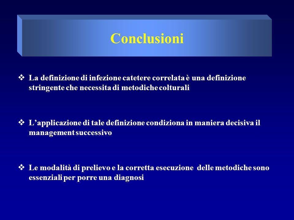 Conclusioni  La definizione di infezione catetere correlata è una definizione stringente che necessita di metodiche colturali  L'applicazione di tale definizione condiziona in maniera decisiva il management successivo  Le modalità di prelievo e la corretta esecuzione delle metodiche sono essenziali per porre una diagnosi