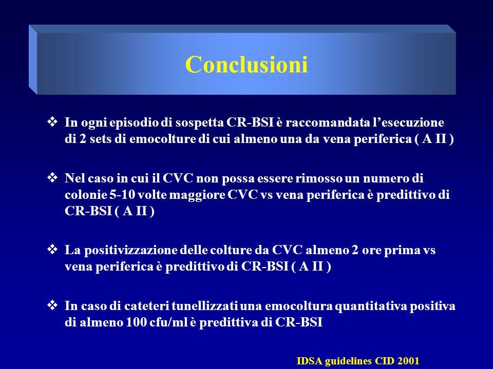  In ogni episodio di sospetta CR-BSI è raccomandata l'esecuzione di 2 sets di emocolture di cui almeno una da vena periferica ( A II )  Nel caso in cui il CVC non possa essere rimosso un numero di colonie 5-10 volte maggiore CVC vs vena periferica è predittivo di CR-BSI ( A II )  La positivizzazione delle colture da CVC almeno 2 ore prima vs vena periferica è predittivo di CR-BSI ( A II )  In caso di cateteri tunellizzati una emocoltura quantitativa positiva di almeno 100 cfu/ml è predittiva di CR-BSI IDSA guidelines CID 2001 Conclusioni