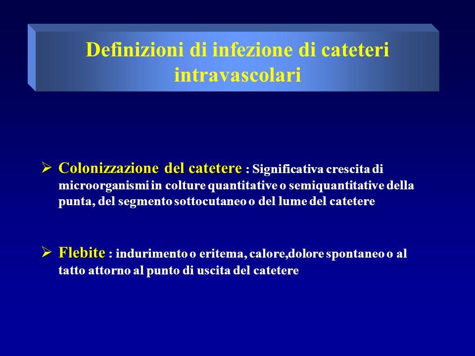  INFEZIONE DEL PUNTO DI USCITA  Clinica : Eritema,indurimento,e/o dolore alla pressione entro 2 cm dal punto di uscita del catetere spesso associata a fuoriuscita di pus; possono essere presenti altri segni o sintomi di infezione come febbre; con o senza BSI  Microbiologica : L'essudato a livello del punto di uscita del catetere contiene microorganismi con o senza BSI  Infezione del Tunnel : Dolore alla pressione,eritema e/o indurimento > 2cm dal punto di uscita lungo il tratto sottocutaneo del catetere tunellizzato,con o senza BSI  Infezione della tasca : Presenza di liquido infetto nella tasca sottocutanea di un catetere intravascolare totalmente impiantato; spesso associata a dolore alla pressione,eritema,e/o area di indurimento al di sopra della tasca ; può essere presente una rottura spontanea con drenaggio del liquido o necrosi della cute sovrastante,con o senza BSI Definizioni di infezione di cateteri intravascolari