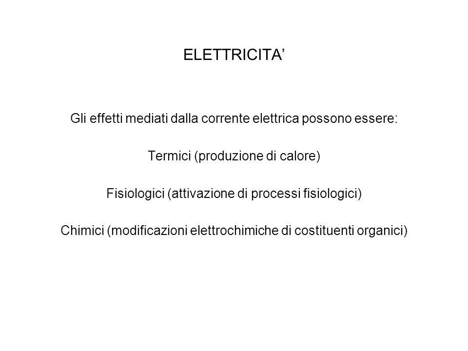 ELETTRICITA' Gli effetti mediati dalla corrente elettrica possono essere: Termici (produzione di calore) Fisiologici (attivazione di processi fisiolog