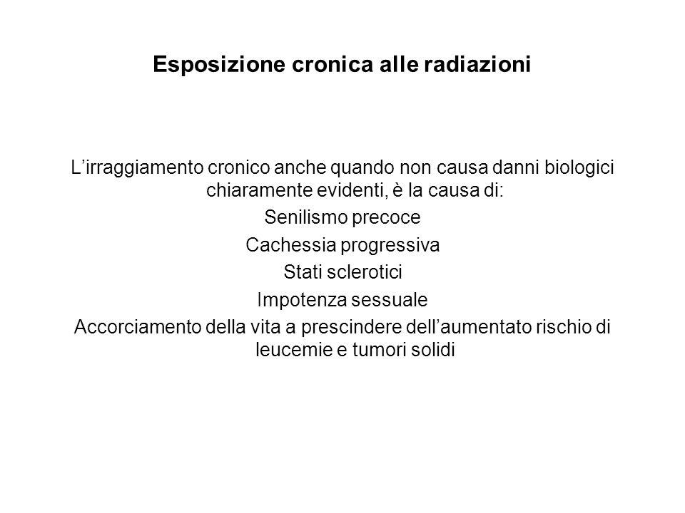 Esposizione cronica alle radiazioni L'irraggiamento cronico anche quando non causa danni biologici chiaramente evidenti, è la causa di: Senilismo prec